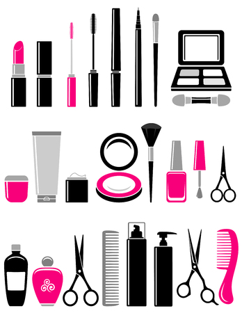 corrector: beauty set of glossy cosmetics icon on white background