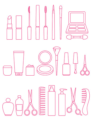 hairstyling: pink cosmetics line icons set on white background