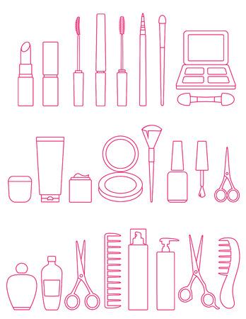powder: pink cosmetics line icons set on white background