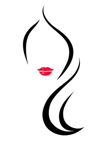 geïsoleerde vrouw gezicht silhouet op een witte achtergrond Vector Illustratie