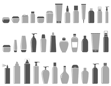 hair conditioner: blank cosmetic bottle icon set on white background Illustration