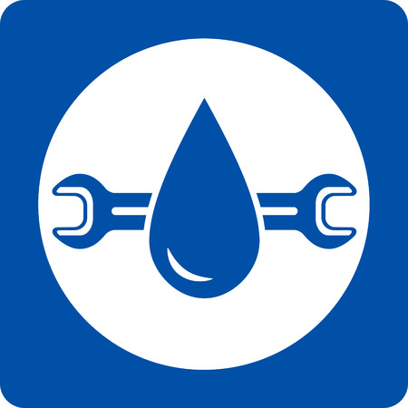blue plumbing service icon with water droplet and wrench