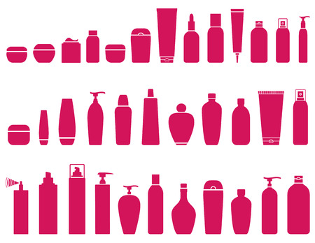 cosmetic bottle: pink beauty cosmetic bottle set icons on white background
