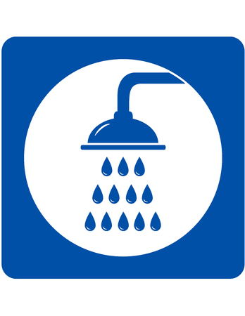 sanitary engineering: blue icon with shower head and water drops