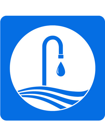 sanitary engineering: blue icon with tap, water drop and wave