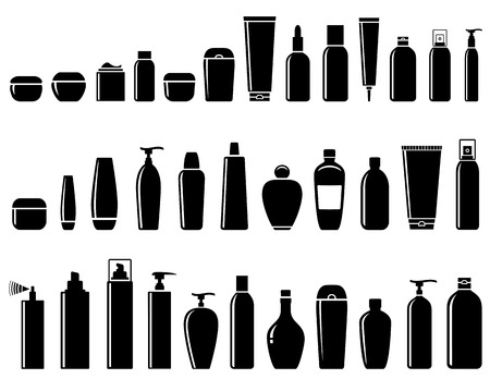 black glossy cosmetic bottle set on white background Vectores