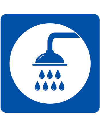 sanitary engineering: blue shower head sign with water drops Illustration