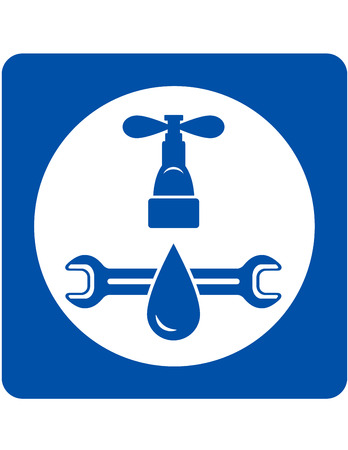 plumbing service sign wth tap and water droplet Illustration