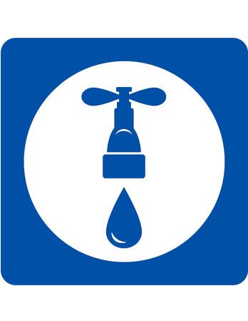 bleu plomberie icône robinet et goutte d'eau Vecteurs