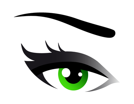 beau vert femme oeil sur fond blanc