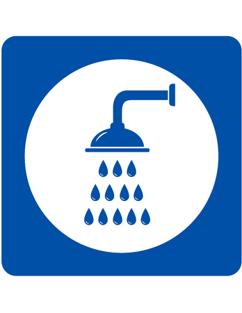 shower head sign with blue water droplets Illustration