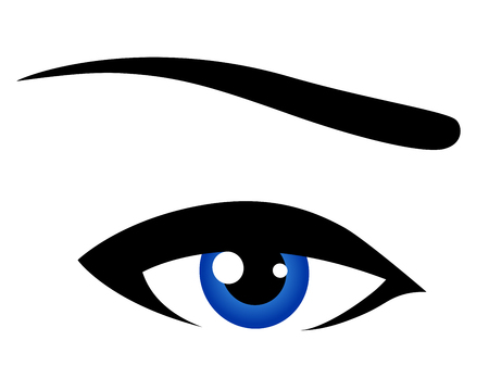 womanish: abstract blue eye icon on white background