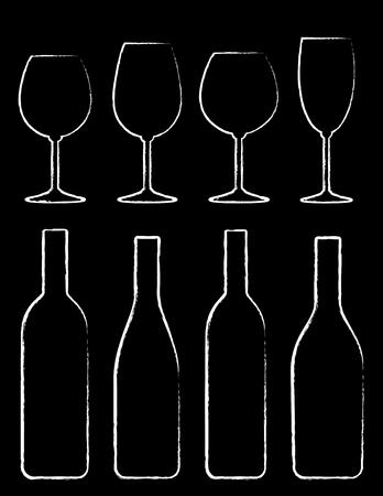 vino: chalk wine bottle and glass set hand drawing on black chalkboard Illustration