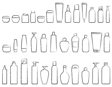 手の白い背景の上の化粧品ボトル シルエットのセットを描画  イラスト・ベクター素材