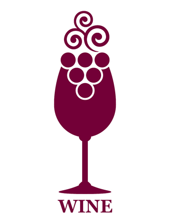 red wine glass: red wine glass and decorative grapes icon Illustration