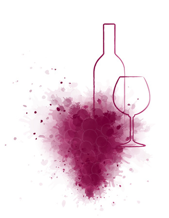 wine and food: hand drawing wine bottle and glass with grunge red grape