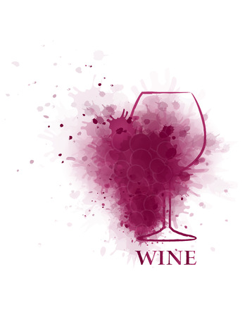 red wine glass icon with transparent grape silhouette on white background