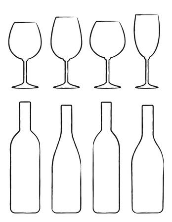 vinho: Jogo de desenho linear de garrafa de vinho preto e silhuetas de óculos Ilustração
