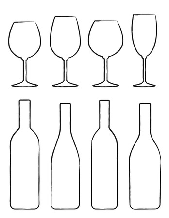 bottles: linear hand drawing set of black wine bottle and glasses silhouettes