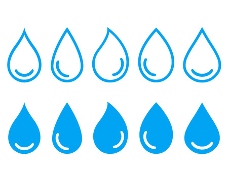 linear set water drops icon on white background