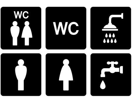 wc: black service set of WC signs with shower and tap
