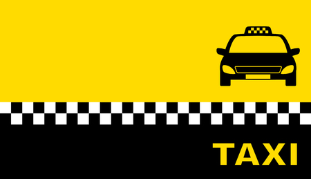 yellow business card with taxi car silhouette and place for text