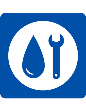 plumbing repair icon with wrench and water droplet Vectores