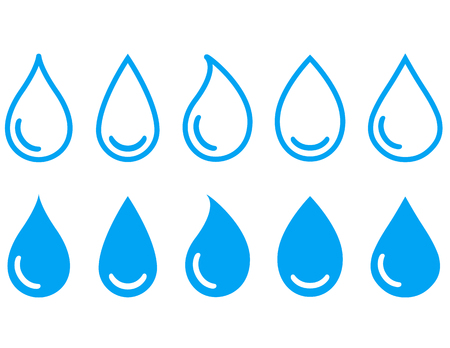 potable: blue linear water drops set on white background