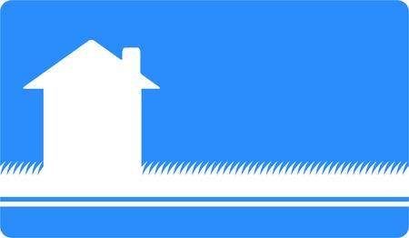 silhouette maison: carte de visite bleu maison blanche silhouette