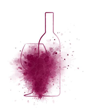 la botella de vino del grunge con el vidrio y abstractas uvas sobre fondo blanco