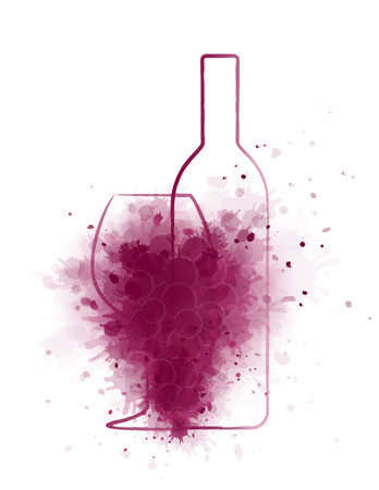 grunge wine bottle with glass and abstract grapes on white background Illustration