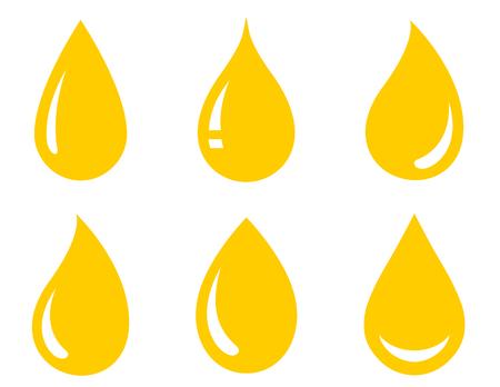 glossy drops set icons on white background Illustration