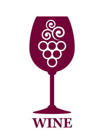 wine grapes: abstract red wine glass icon with grapes and decorative leaf