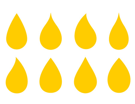 filling station: set of drops silhouette on white background