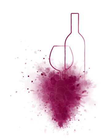 wine red: red wine bottle and glass with abstract grape bunch Illustration