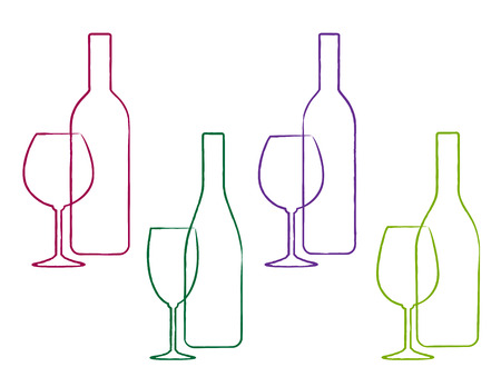 glass bottle: linear wine set of colorful bottle and glass icon Illustration