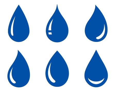 白い背景の水滴は光沢のあるブルーのセット