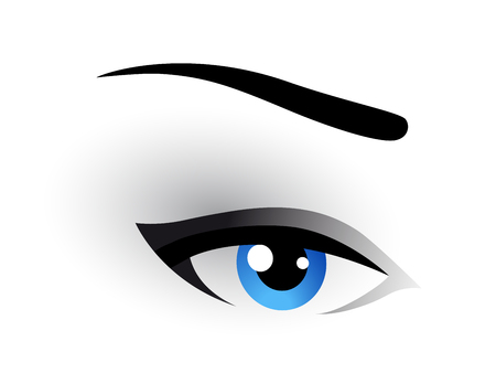 blue eye makeup image on white background