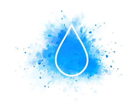 drinkable: blue water splash and linear drop icon