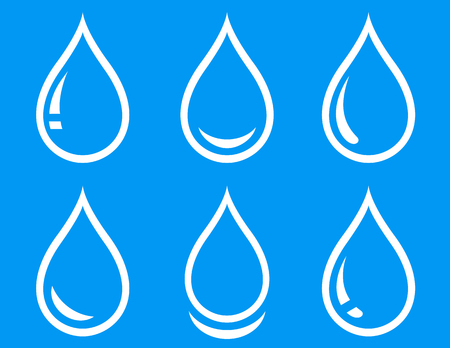 potable: linear water droplet icon set on blue background Illustration