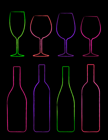 abstract liquor: colorful linear set of bottle and glass on black background