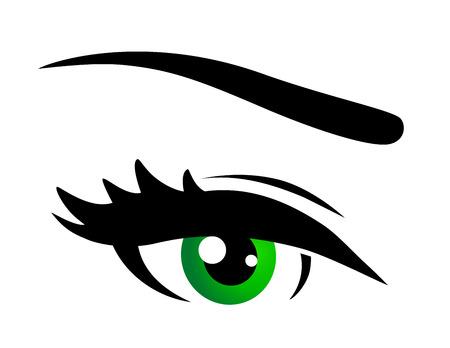 ojos verdes: icono del ojo verde con pestañas en el fondo blanco