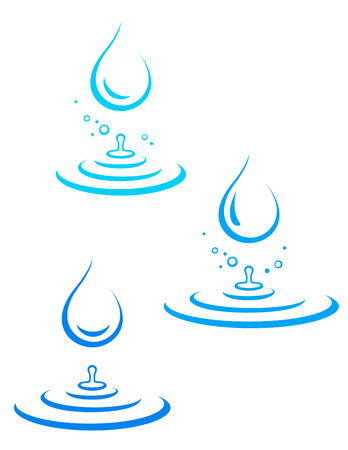 set of blue water drop icons and splash on white background