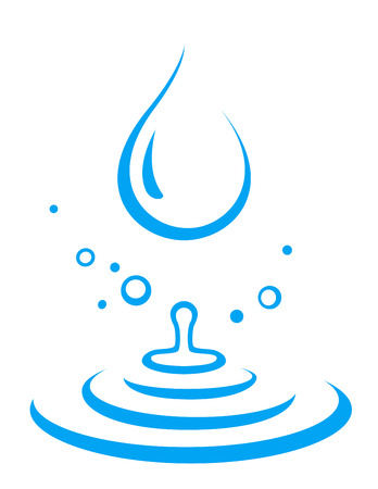 abstract blue splash of water droplet icon on white Illustration