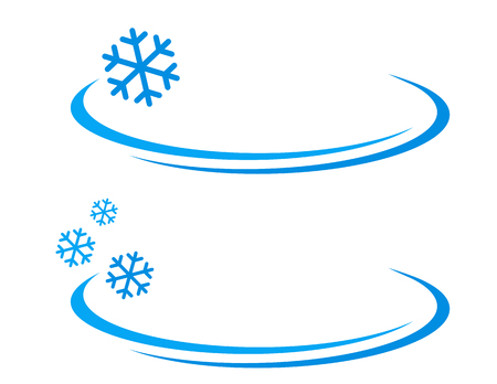 ventilation: winter background with blue snowflakes icon on white