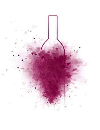 blank wine bottle silhouette and grunge grape