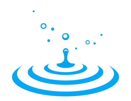 abstract water drop splash with blue dribble Illustration