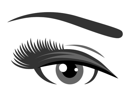 grey eye with long eyelashes on white background Illustration