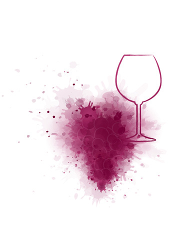 red wine glass silhouette with grunge grape splash Çizim