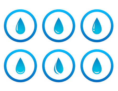 potable: blue water drop icon in round frame set